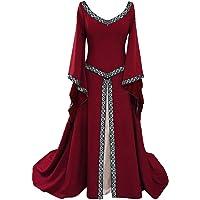 tianxinxishop Disfraz de V Cuello en V Medieval para Mujer Vestido Largo Manga Larga Vintage Rojo/Negro