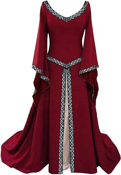 Disfraz de V Cuello en V Medieval para Mujer Vestido Largo Manga ...