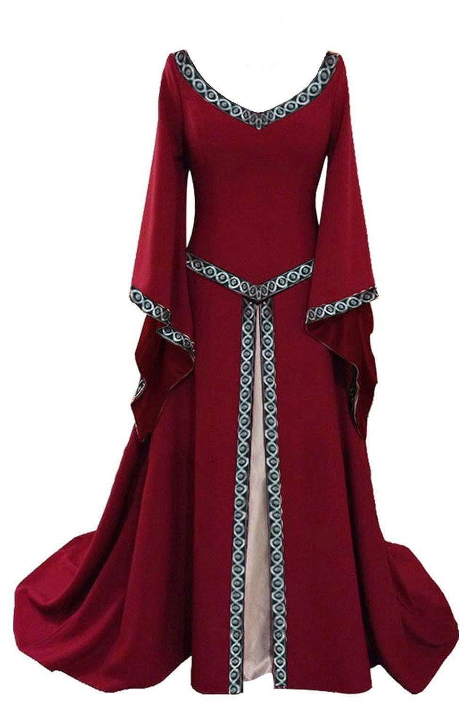 Prettycos Women Halloween Medieval Victorian Queen Costume V-Neck Flared Sleeves Fancy Dress Costume