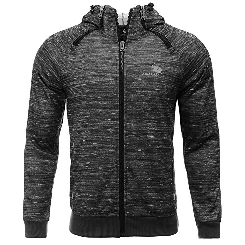 AIRAVATA Men's Hoodie Jacket Slim Fit Zip Up Raglan Sleeve Fitness Sportwear...