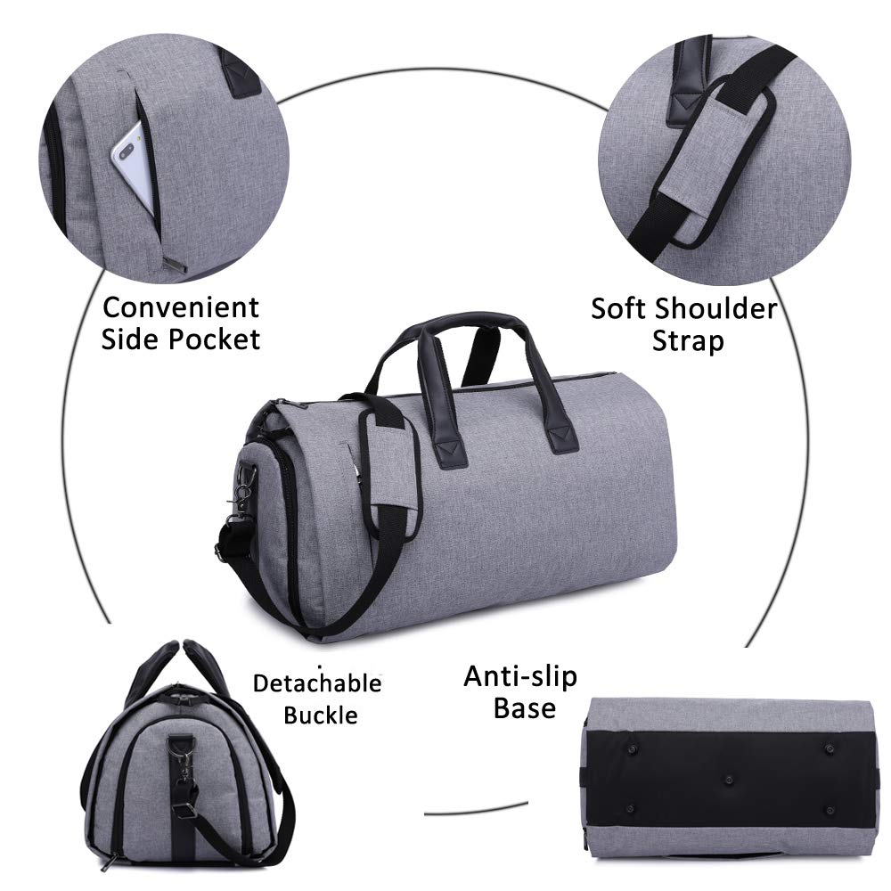 Black Carry On Garment Bag for Travel /& Business Trips with Shoulder Strap Duffel Bag with Shoe Pouch