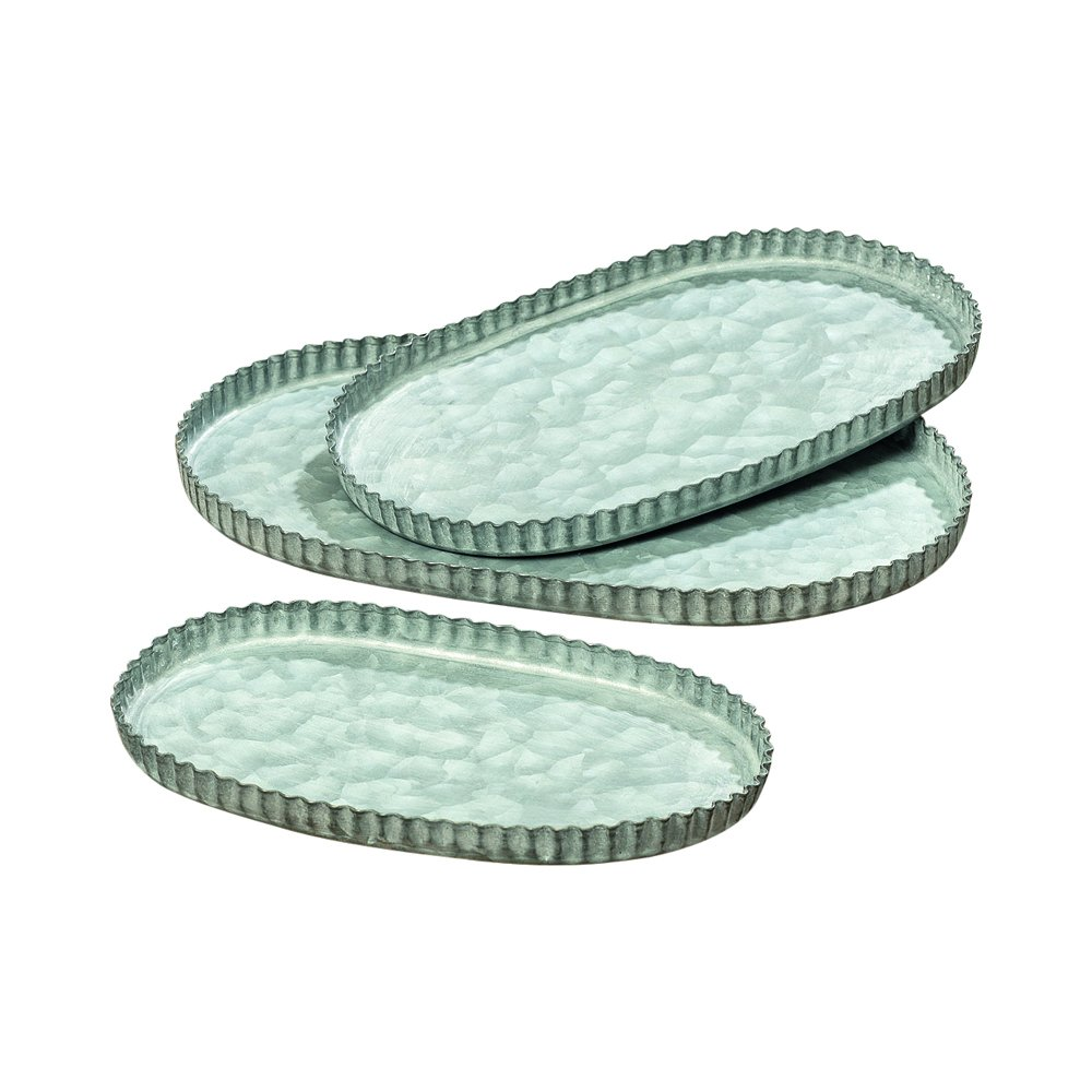 Whole House Worlds The Farmer's Market Pastry Crust Oval Serving Trays, Set of 3, Fluted Edges Galvanized Metal,10 3/4-8 1/4 Inches Long, by WHW