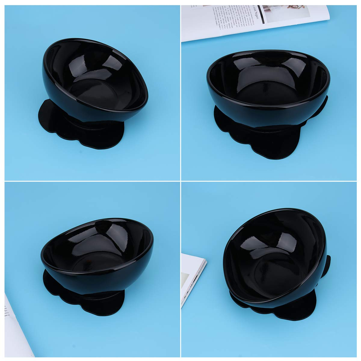 POPETPOP 1PC Fashion Black Safe Creative Pet Food Bowls Bulldog Ceramic Feeding Dishs Pet Supplies for Dog Puppy Cat Kitten by POPETPOP