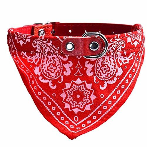 Malloom Einstellbar Haustier Hund Hündchen Katze Hals Schal Bandana Halsband Halstuch (M, rot)