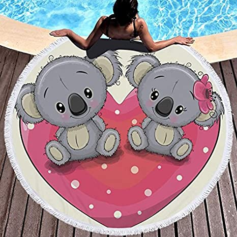 GSYAZTT Cartoon Beer Printed Tastes Round Beach Towels For Kids Tasted 150 Cm Microfiber Toalla Blanket