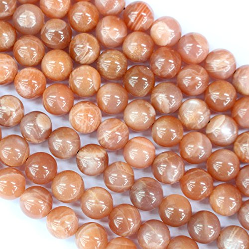 Natural Genuine Peach Moonstone Round Real Gemstone Loose Beads Findings for Jewelry Making (10mm)