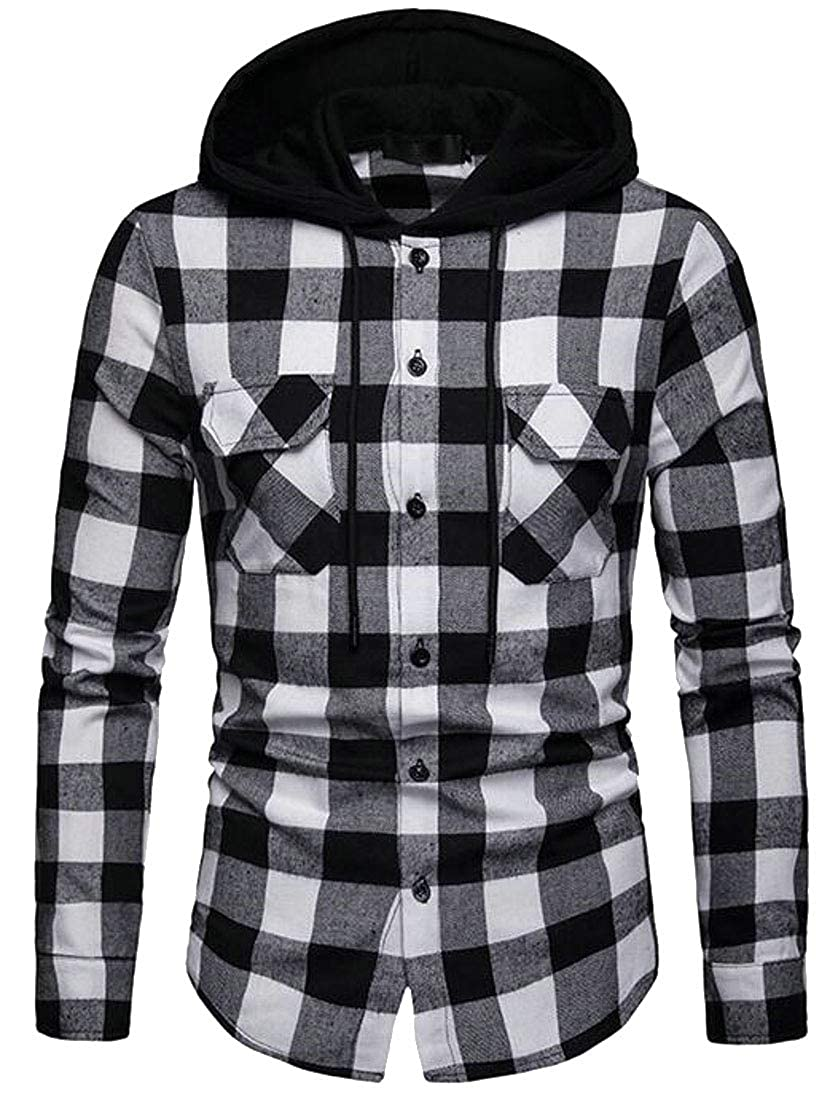 Fubotevic Men Plus Size Hoodie Long Sleeve Button Down Slim Dress Checkered Shirt