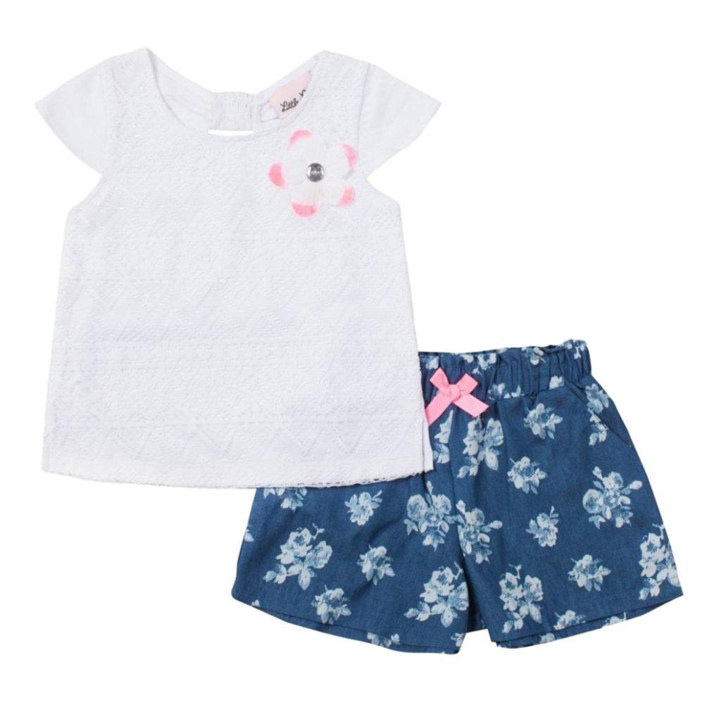 5b23459f0b52 Amazon.com  Little Lass Infant Toddler Girls 2 PC Set White Lacy ...