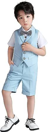 4 Piezas Traje Corto de Boda para niños, Conjunto de Ropa de Ceremonia, Camisa + pantalón + Chaleco + Pajarita