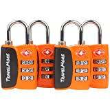TSA Luggage Padlocks – Cable Combination Travel Locks With Search Alert For Suitcase & Backpack - 4 Pack of Padlocks (Orange)