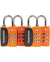 4 Pack Open Alert Indicator TSA Approved 3 Digit Luggage Locks for Travel, Suitcase & Baggage (Orange)
