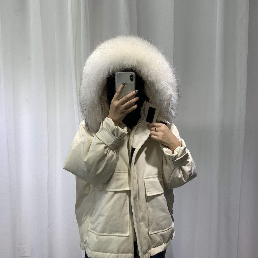 FQD&BNM Doudoune 2019 Femmes Veste d'hiver Blanc Duvet de Canard Veste à Capuche Femme épais Manteau Chaud Plus la Taille vers Le Bas beige-blanche