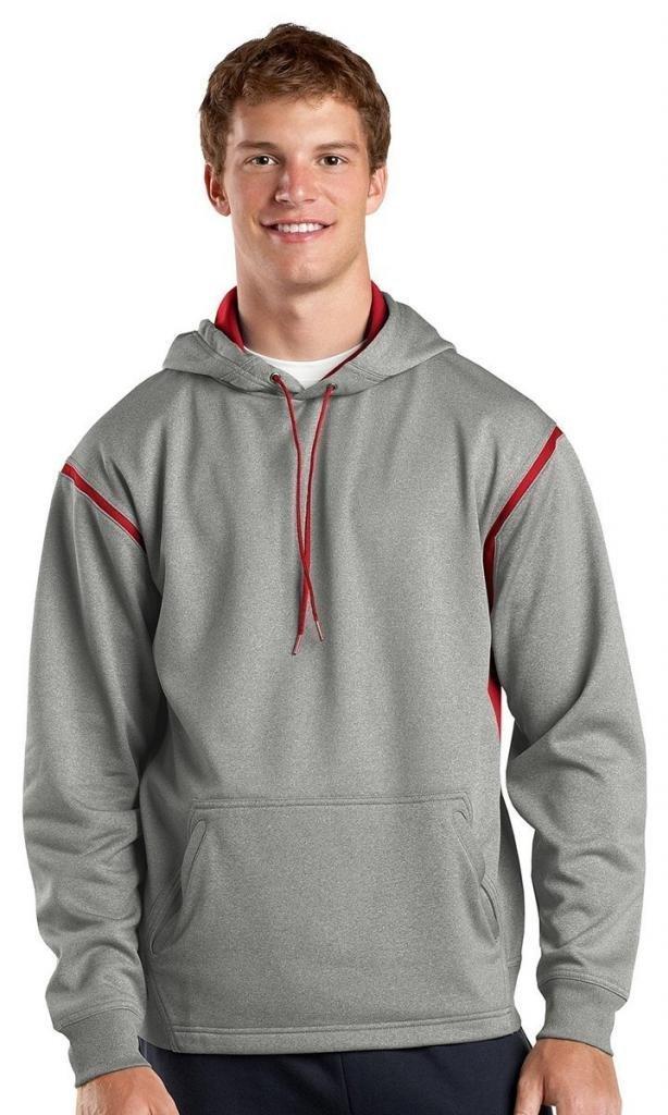 Sport-Tek Men's Tall Tech Fleece Colorblock Hooded 2XLT Grey Heather/True Red by Sport-Tek