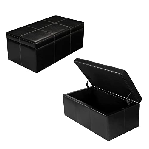 Joveco Storage Bench Bonded Leather Ottoman Footstool for Living Room No Leg-Black
