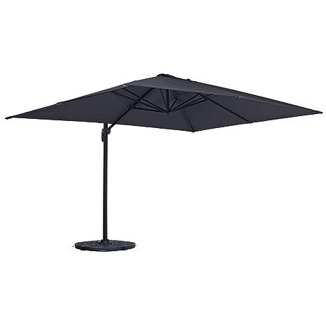 Garden Outdoor Parasol 2m Grey Patio Dining Table Umbrella Sun Shade Air Vent
