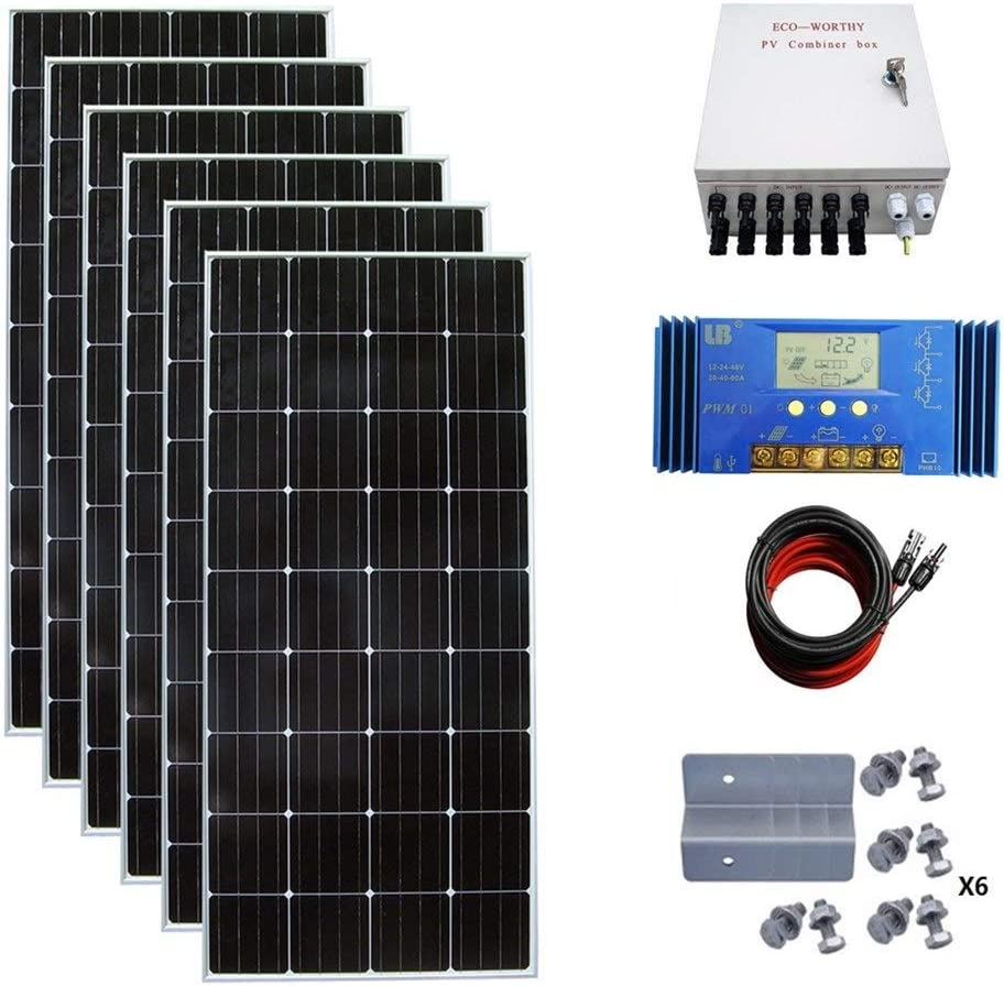 Amazon.com : ECO-WORTHY 900 Watt 24 Volt Solar Panel Off Grid RV Boat Kit  with 60A PWM Charge Controller : Garden & Outdoor