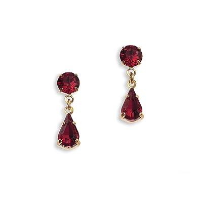 Swarovski Earrings - Ruby Teardrop Earrings - Red Earrings - Diamante Earrings - Silver Plated/Pierced lHwqfzm