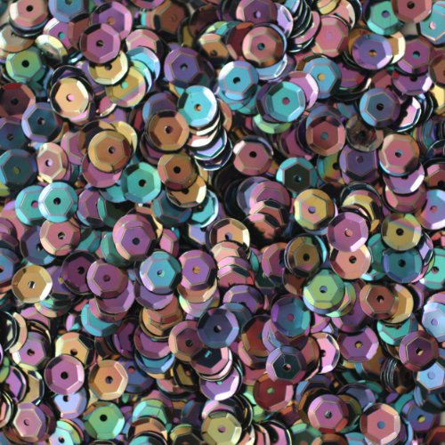 6mm CUP SEQUINS Facet PAILLETTES ~ BLACK RAINBOW IRIS Metallic ~ Loose paillette sequins for embroidery, applique, arts, crafts, bridal wear and embellishment. Made in USA ()