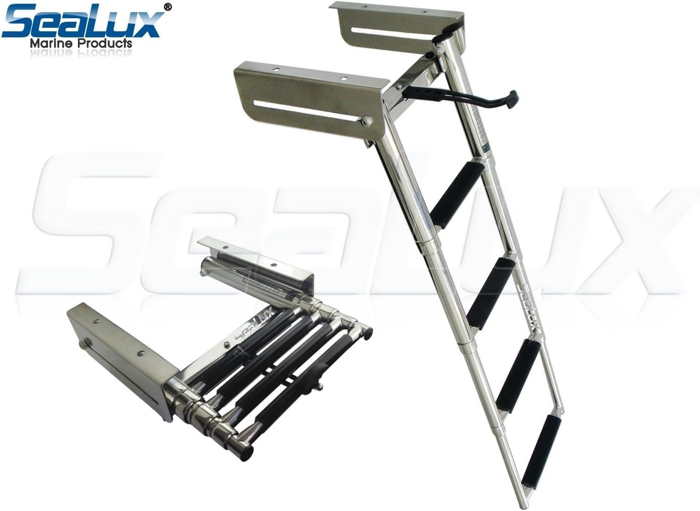 Sealux Marina Deluxe Extra desplegable Slide 4 Pasos con Plataforma para Escalera de embarque con Correa de sujeción OEM Calidad: Amazon.es: Deportes y aire libre