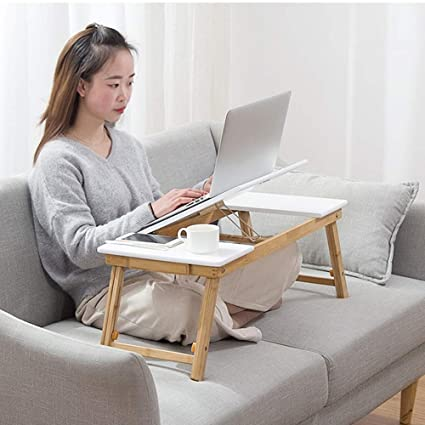 Amazon.com : Feifei Bamboo Foldable Computer Desk Portable Laptop Stand Adjustable Height Bed Table Adjustable Desktop Game Table with Drawer Desk : Office ...