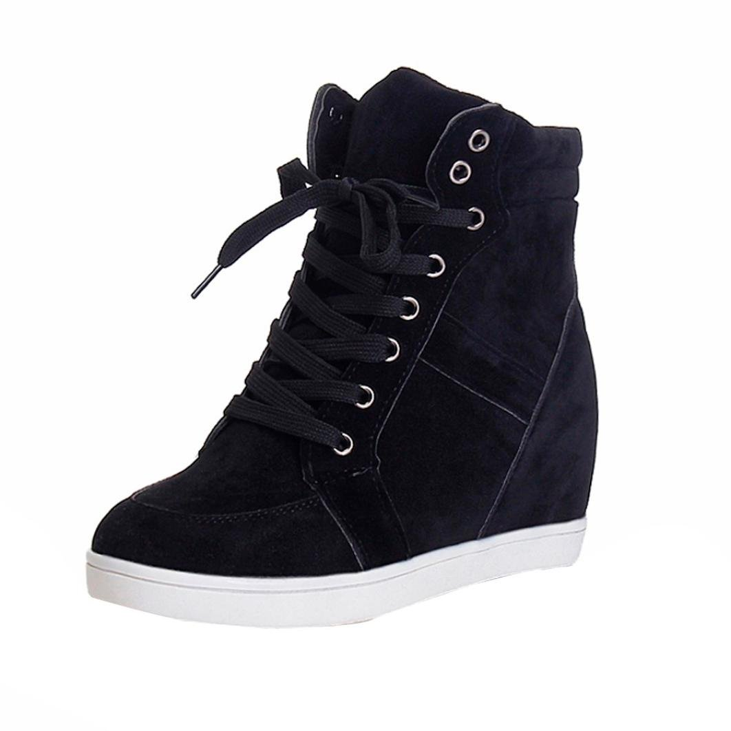Fheaven (TM)) Women Wedge Shoes Round Toe Lace-up Canvas Boots Casual Booties Shoes (US:6, Black)