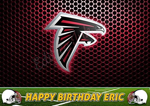 - Atlanta Falcons NFL Edible Cake Topper Personalized Birthday 1/4 Sheet Decoration Custom Sheet Party Birthday on Wafer Rice Paper