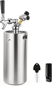 FERRODAY 128oz Mini Keg Growler Tap System Beer Dispenser Stainless Steel Home Keg Kit Co2 Regulator Keeps Fresh Carbonation for Craft Draft Beer Homebrew Pressurized Portable Mini Keg Compact Kit