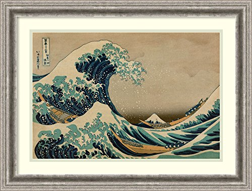 - Framed Art Print 'Kanagawa Oki Nami Ura, The Great Wave Off Shore of Kanagawa' by Katsushika Hokusai: Outer Size 27 x 20