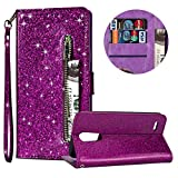 Luxury Glitter Bling Zipper Wallet Phone Case for LG K10 2018, MOIKY Bookstyle PU Leather Flip Folio Magnetic Purse Pockets Credit Card Holder Wrist Strap Case Cover for LG K10 2018 - Purple