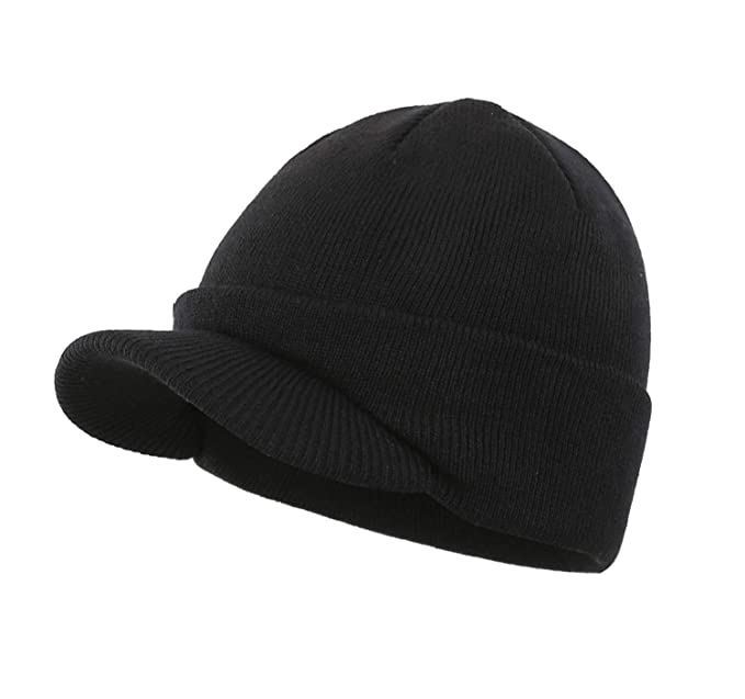 Home Prefer Men s Beanie Hat for Cold Weather Thermal Knitted Hat with Bill  Beanie Cap Black 01b44f15f2e
