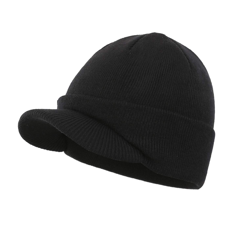 Home Prefer Mens Winter Beanie Hat with Brim Warm Double Knit Cuff Beanie Cap
