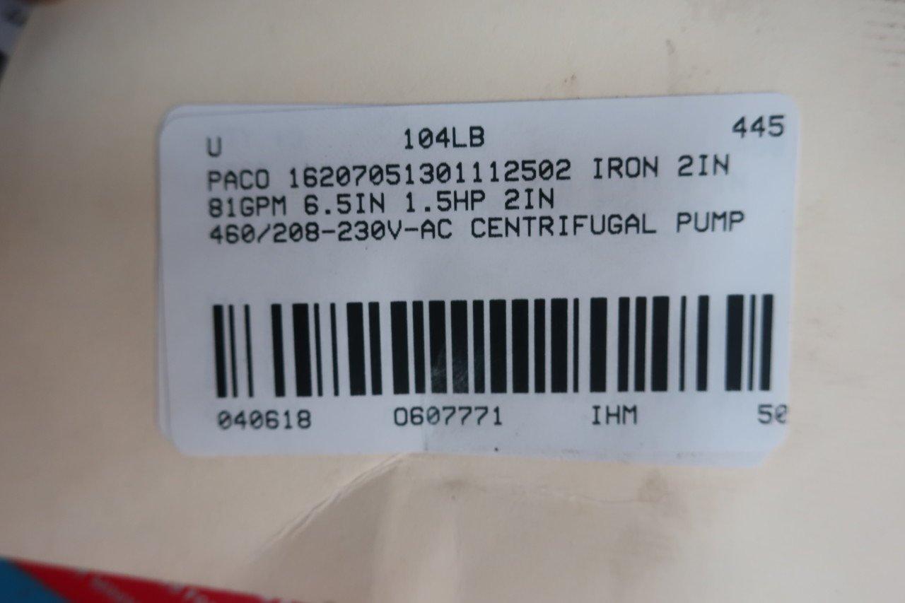 PACO 16207051301112502 IRON CENTRIFUGAL PUMP 2X2-6-1/2IN