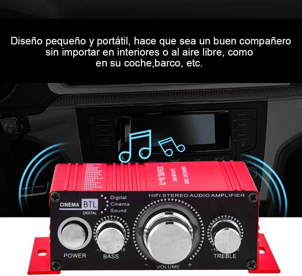 Mini Amplificateur de Puissance Audio St/ér/éo 12V 2 Canaux HiFi st/ér/éo 20W Ampli num/érique Int/érieur//Ext/érieur de Rouge pour Bateau de Voiture