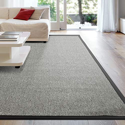 iCustomRug Zara Synthetic Sisal Collection Area Rug and Custom Size Runners, Softer Than Natural Sisal Rug, Stain Resistant & Easy to Clean Beautiful Border Rug in Grey 6' x 8'