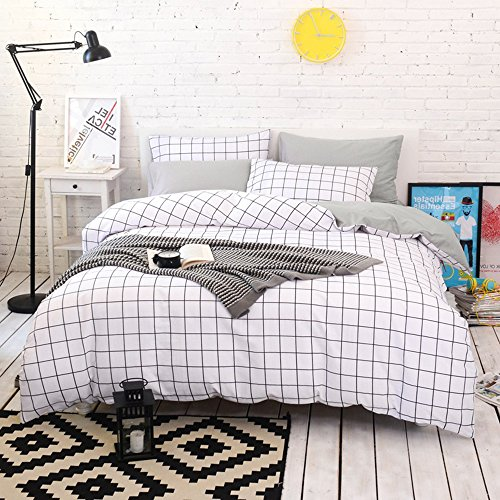 Gingham Standard Sham - BuLuTu 3 Pieces Kids Duvet Cover Set Twin White/Grey 100 Percent Cotton,Plaid Gingham Print Single Bed Grid Bedding Sets Twin Comforter Cover Zipper Closure,Gifts for Boys,Girls,Men,Women,NO COMFORTER