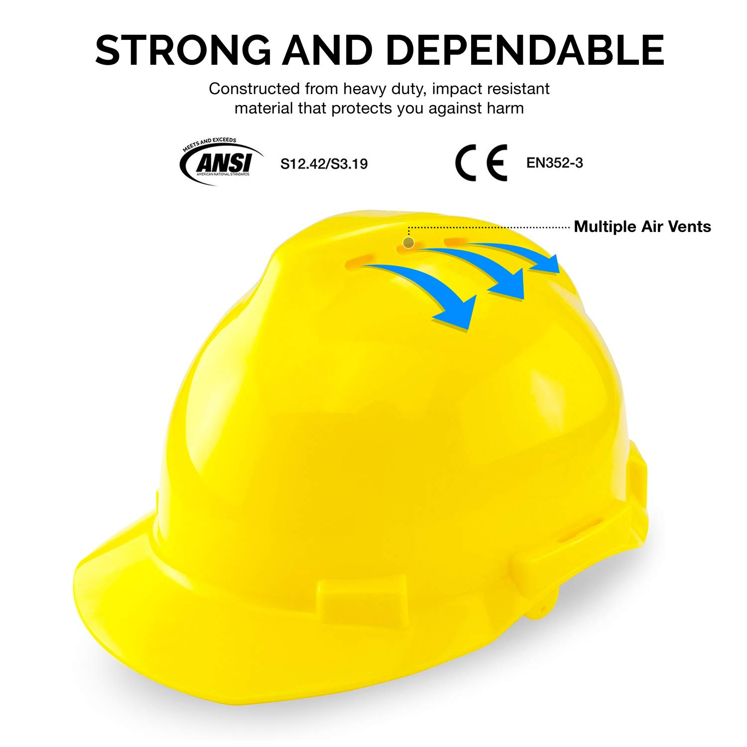 Neiko 53880A 4-in-1 Safety Helmet with Hearing and Face Protection, Heavy Duty Hard Hat | Removable Ear Muffs and Visors by Neiko (Image #2)