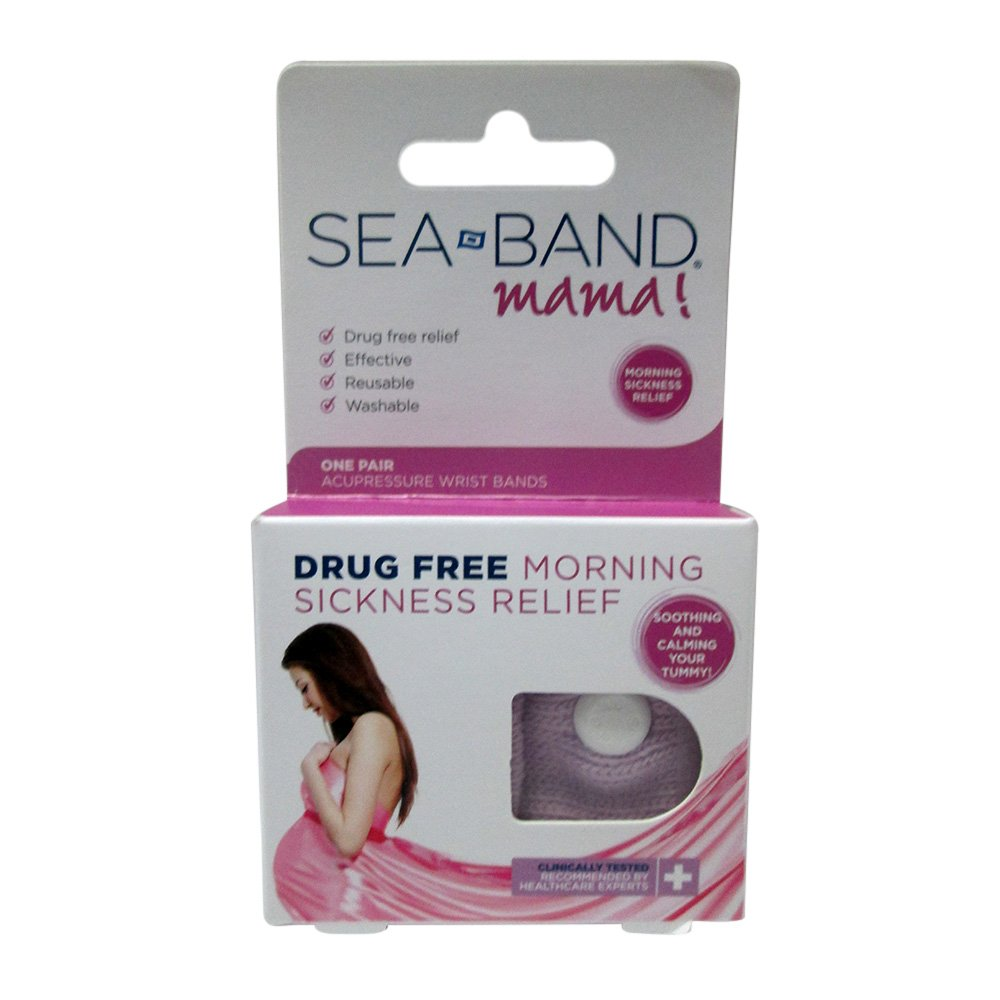 Sea-Band - Mama! Acupressure Wrist Bands for Drug Free Morning Sickness Relief - 1 Pair (Pack of 2)