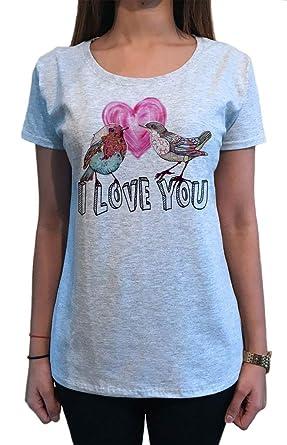 Irony Women's Top Beautiful Brushed Heart Exotic Birds 'I Love You