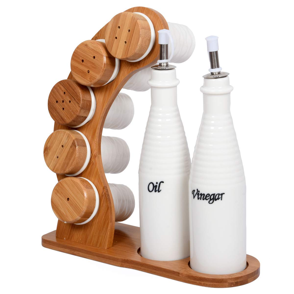 Buy golkipar latest new kitchen ceramic porcelain bottle jar oil olive vinegar pot storage container dispenser cooking tools with wooden stand online at low