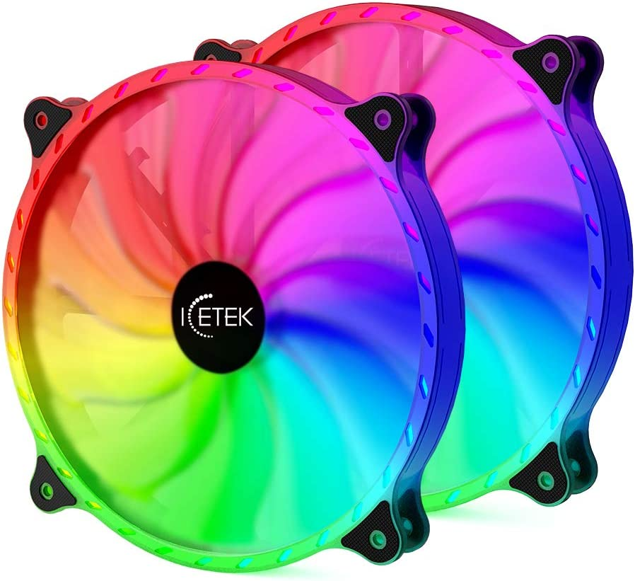 Iyoyo RGB Fans 200mm for Computer Case 366 Adjustable Color LED PC Computer Fan with Ccontroller 2 Pack