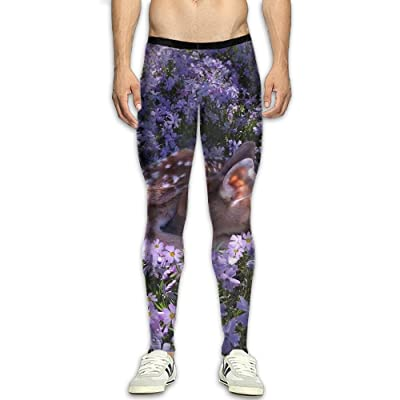 Adult's Compression Pants Sports Leggings Tights Baselayer Sika Deer Purple Flowers Painting Yoga Gym Running Workout Hiking Basketball Fitness - For Men Womens
