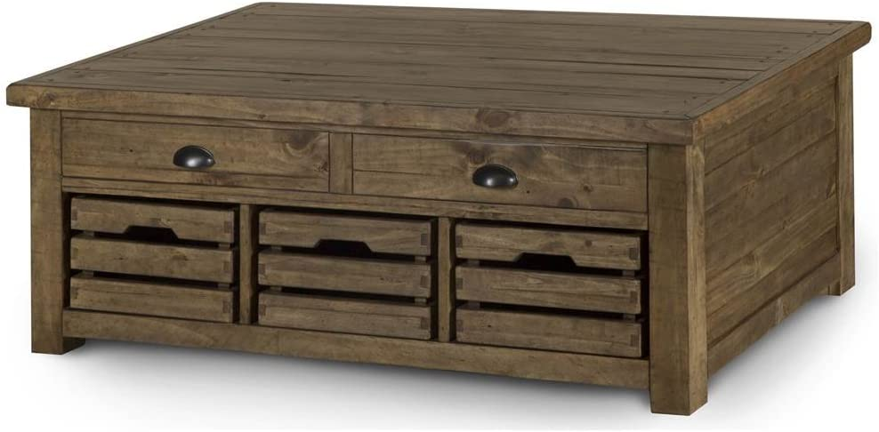 Amazon Com Magnussen Stratton Rustic Lift Top Storage Coffee Table With Casters Furniture Decor