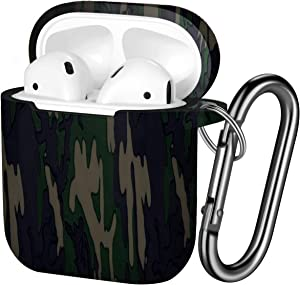 Hamile Compatible with AirPods Case Cute Fadeless Pattern Silicone Protective Cases Cover Skin Designed for Apple Airpod 1 & 2, Women Men, with Keychain (Camouflage)