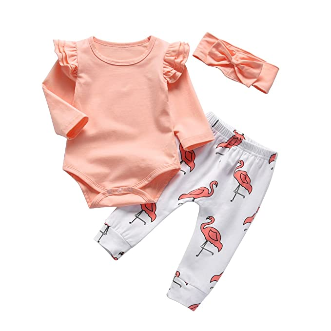 865d4963ecdf5 Baby Girl Pink Ruffle Long Sleeve Bodysuit Tops Flamingo Pants and Headband  3Pcs Outfits Set (