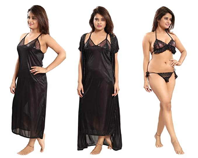 196c0ff1c9d1b Romaisa Women's Satin Nightwear Set of 4 Pcs Nighty, Wrap Gown, Bra & Thong