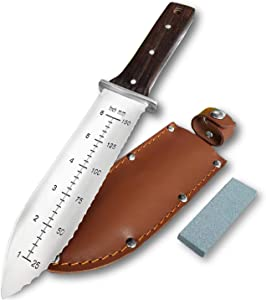 Gonicc Professional Garden Knife with Leather Sheath, Protective Handguard, High polished 440 Stainless Steel Blade, Sharpening Stone Included, for Weeding, Digging, Pruning, and Cultivating, Soil Kni