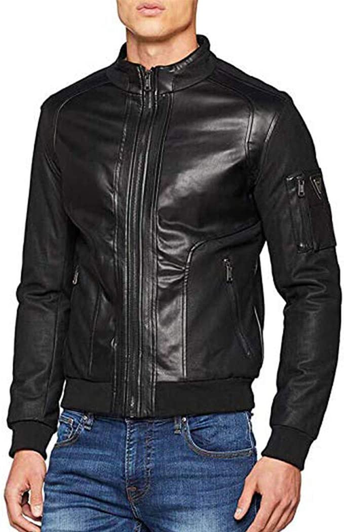 Guess Giubbotti Mesh up Eco Leather Giacca Sportiva Uomo