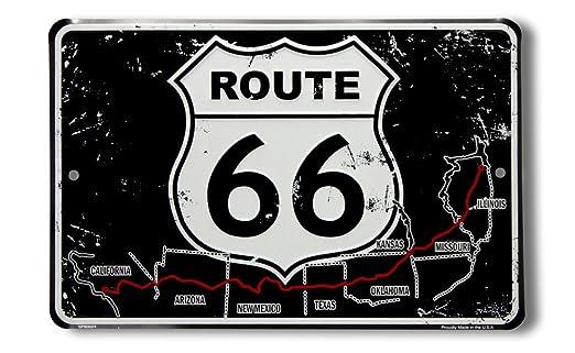 Route 66 bw Cartel de Chapa Placa metal plano Nuevo 30x20cm ...