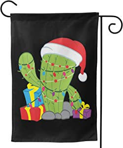 "Fejarx Cactus Christmas Tree Xmas Lights Santa Christmas Garden Flag Double Sided Small Winter Garden Flag 12.5""X18"""