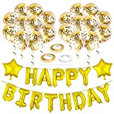 ZELAAR Happy Birthday Balloons Party Decorations – Gold Birthday Decorations Set with Happy Birthday Banner Foil Letter Balloons, Star Balloons, Ribbon and Confetti Balloons for Kids and Adults